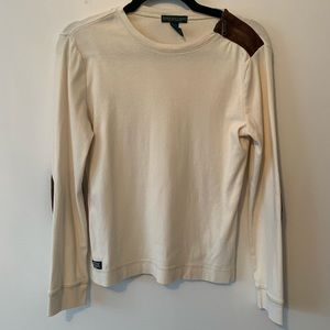 Ralph Lauren Cream Long Sleeve Brown Elbow Patches